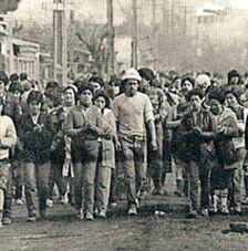 Trabalhadores de cordão industrial no Chile
